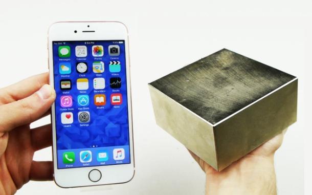 Silný neodýmový magnet a mobil