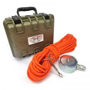 Magnet fishing set PREMIUM TRAVEL (obojstranný magnet 500 kg + hák + lano 30 metrov + prepravný box)