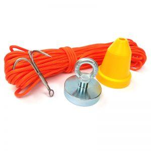 Magnet   fishing set STANDARD (magnet 290 kg + ochranný kužeľ + hák + lano 30 metrov)
