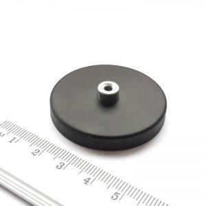 Magnet   v puzdre s vysunutým vnútorným závitom 43x6 mm pogumovaný