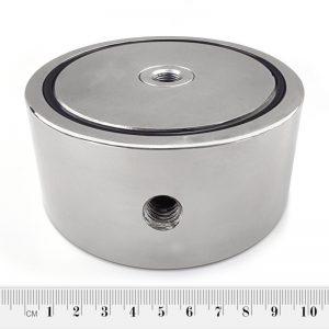 Magnet   v puzdre so závitom cez celý magnet 97x40 mm obojstranný