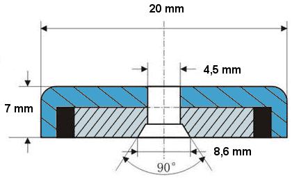 Magnetický úchyt 20x6 - rozmery