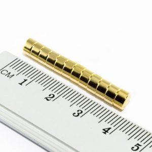 Neodýmový magnet valec 5x3 mm pozlátený - N35
